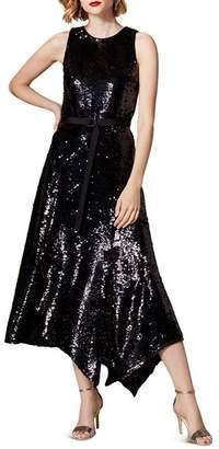 Karen Millen Asymmetric Sequined Midi Dress