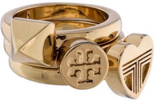 Tory BurchTory Burch Pyramid, Heart & Logo Ring Set