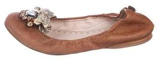 Miu Miu Embellished Leather Flats