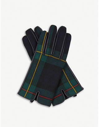Sandro Panelled tartan and leather gloves