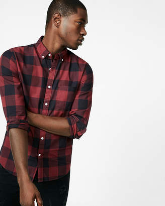 Express Slim Soft Wash Cotton Check Button Collar Shirt