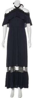Alice + Olivia Short Sleeve Maxi Dress Blue Short Sleeve Maxi Dress