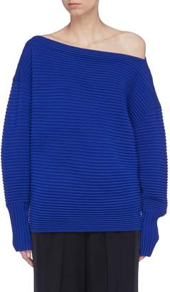 Victoria Beckham VICTORIA, Wool ottoman knit one-shoulder sweater