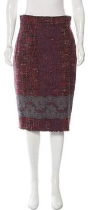 Dolce & Gabbana Tweed Lace-Accented Skirt Red Tweed Lace-Accented Skirt