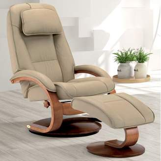 M·A·C OSLO COLLECTION Oslo Collection by Mac Motion Bergen Recliner and Ottoman in Cobblestone Top Grain Leather
