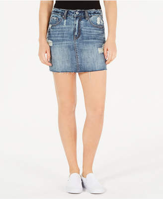 Vanilla Star Juniors' Cotton Ripped Denim Mini Skirt