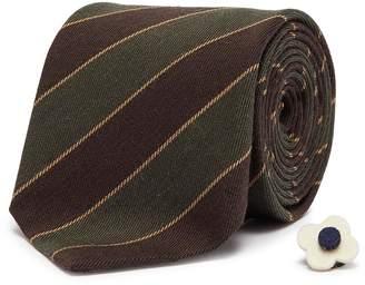 Lardini Stripe wool-cotton twill tie