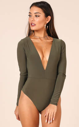 Showpo Tell You Something bodysuit in khaki