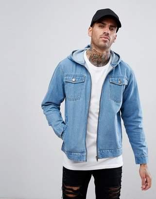 Ascend Denim Acid Wash Jacket with Hood