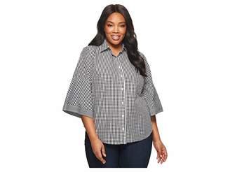 Lauren Ralph Lauren Plus Size Gingham Bell-Sleeve Shirt