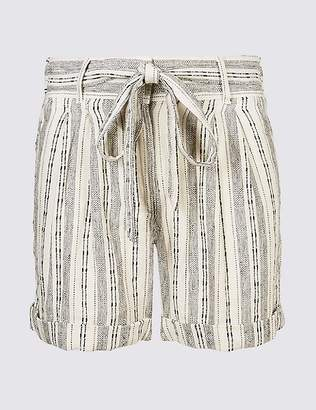 Marks and Spencer Linen Rich Striped Casual Shorts