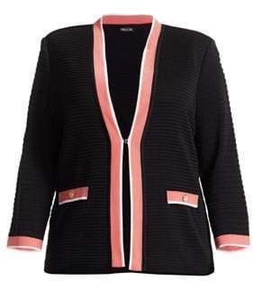Misook Misook, Plus Size Ottoman Contrast-Trim Ribbed Jacket