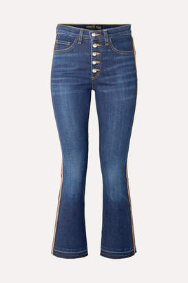 Veronica Beard Carolyn Cropped Grosgrain-trimmed High-rise Bootcut Jeans - Indigo