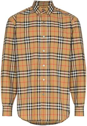 Burberry check print cotton long sleeve shirt
