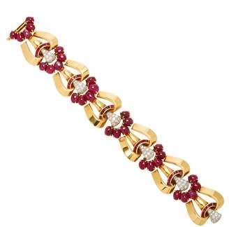 Moira Fine Jewellery Vintage 18K Gold Ruby and Diamond Bracelet