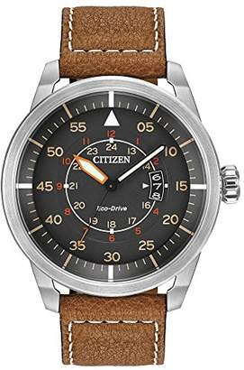 Citizen Men's Eco-Drive Brown Leather Strap Watch with Date