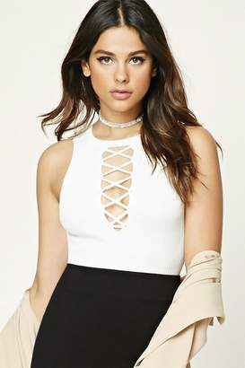 Forever 21 Plunging Lace-Up Crop Top