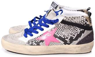 Golden Goose Mid Star Sneakers in Rock Snake/Fuxia Star