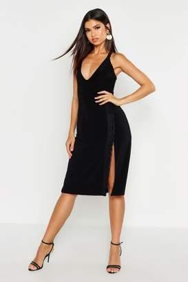 boohoo Lace Trim Side Split Slip Midi Skirt
