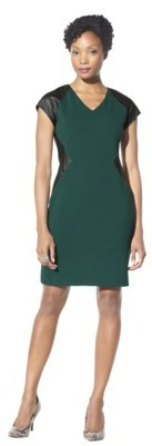 Mossimo Women's V-Neck Ponte Dress w/ Faux Leather - Assorted Colors