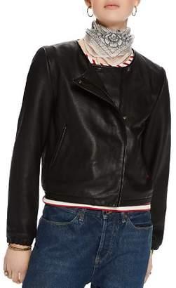 Scotch & Soda Leather Bomber Jacket