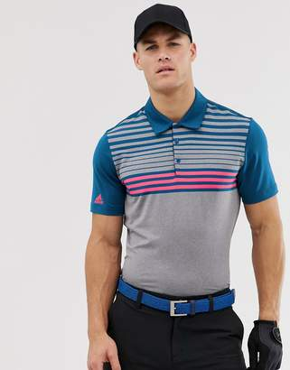adidas Ultimate 365 3-stripe polo in blue