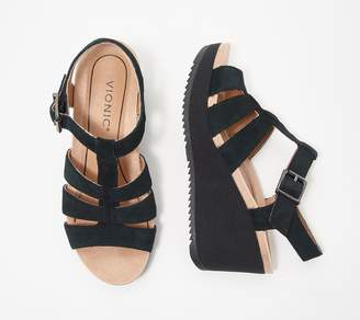 Vionic Leather Platform Wedges - Tawny