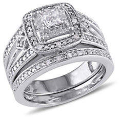 HBC CONCERTO Princess-Cut 0.24 TCW Diamond Quad Filigree Sterling Silver Bridal Ring Set