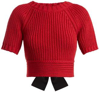 RED Valentino Bow-detail ribbed-knit cotton cropped sweater