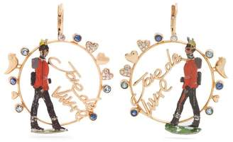 Francesca Villa Rose Gold Sapphire, Toy Soldier Earrings - Womens - Red