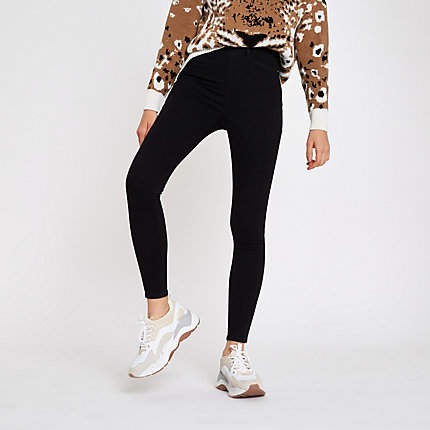 Womens Black Cici pull on jeggings
