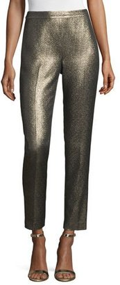 St. John Collection Emma Metallic Tweed Cropped Pants, Gold/Multi $595 thestylecure.com
