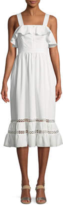Shoshanna Valery Sleeveless Ruffle Cotton Dress