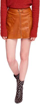 Free People High A-Line Faux Leather Miniskirt