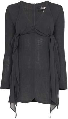Jacquemus V-neck tie detail virgin wool blend mini dress