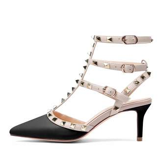 Chris-T Women's Pointed Toe Ankle Strap Pumps T-Strap Mid Heel Rivets Studded Shoes