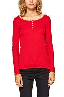 Esprit edc by Women's 098cc1k014 Long Sleeve Top, (Red 630), Small
