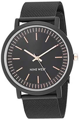 Nine West Women's NW/2166BKBK Rubberized Mesh Bracelet Watch