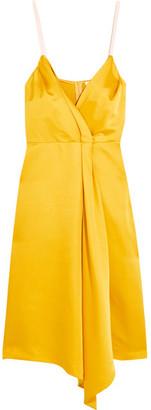 Victoria Beckham - Draped Silk-blend Satin Dress - Yellow $2,450 thestylecure.com