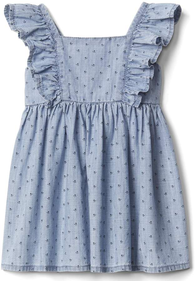 Floral chambray flutter dress 3