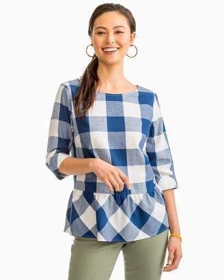 Buffalo David Bitton Southern Tide Jillian Navy Check Peplum Top