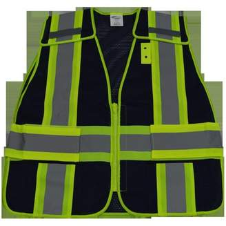 Petra-Roc Petra Roc Blvm-Psv-Plus 2 In. Navy Blue Mesh & Lime Green Contrast Expandable 5 Point Breakaway Vest Silver Reflective Tapes, 2 Pockets Mic-Tabs, Plus 2x & 5x