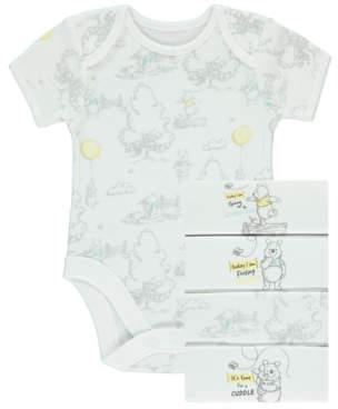 Disney Winnie the Pooh White Bodysuits 5 Pack