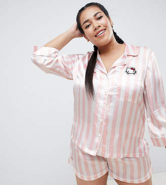 Asos Hello Kitty x DESIGN Curve stripe pj set with peeping kitty 744574da8