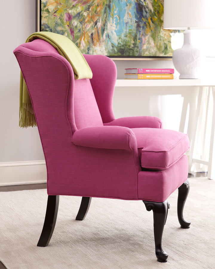 """Horchow Key City Furniture """"Sally"""" Wing Chair"""