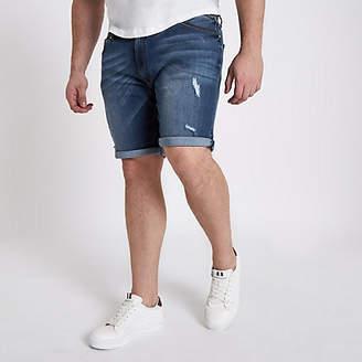 River Island Mens Big and Tall Blue ripped denim shorts