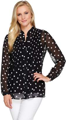 1b4266127c3f57 Susan Graver Polka Dot Sheer Chiffon Shirt Set with Pleat Detail