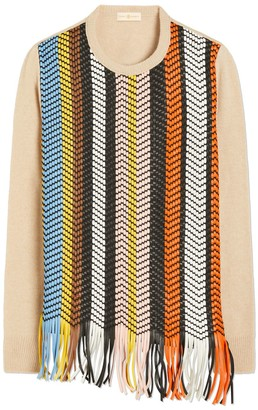 Tory Burch HANDWOVEN LEATHER-FRONT SWEATER