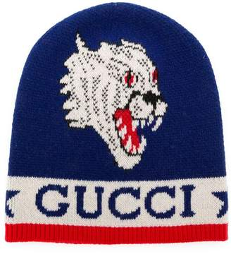 0c0d0cf2be9938 Gucci knit tiger patch beanie