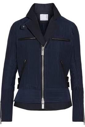 Sacai Hickory Twill-Trimmed Striped Cotton-Canvas Peplum Jacket